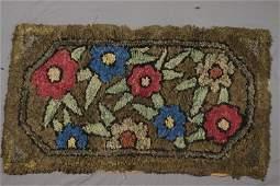 Vintage Folk Art Hand Hooked Rag Rug