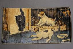Vintage Made in Italy Velvet Cat & Dog Wall Hanging