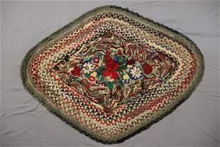 Vintage Folk Art Hand Braided & Hooked Carpet