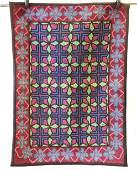 Vintage Hand Hooked Quilt Pattern Carpet