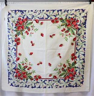 Vintage 1950's Cotton Printed Table Cloth with