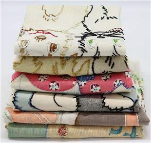 Lot of 6 Printed & Embroidered Throw Pillow Covers