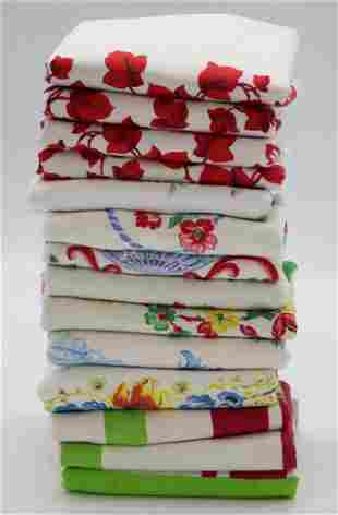 Lot of 14 Vintage 1950's Cotton Printed Towels
