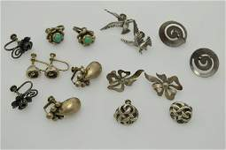 A lot of eight pairs of vintage sterling silver