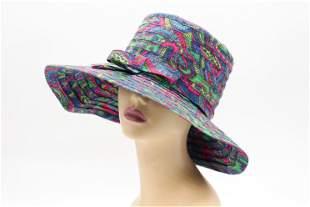 Vintage 1970's Paisley Print Cotton Wide Brim Hat