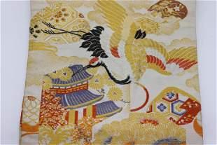 Vintage Asian Obi with Metallic Embroidery