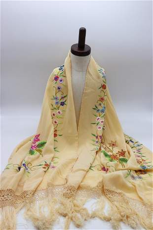 Vintage Hand Embroidered Ladies Shawl