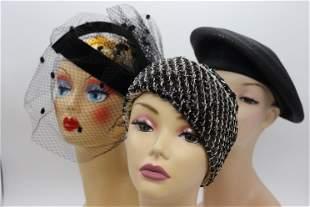 Lot of 3 Vintage Ladies Hats, 1960's