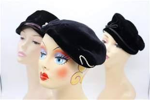 Lot of 3 Vintage 1950's Black Velvet Hats