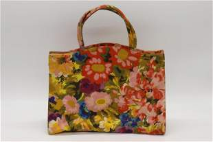 Vintage 1950's Cotton Floral Hand Bag Purse, Margaret