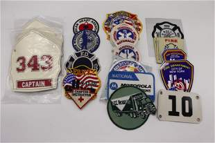Lot of Vintage Patches, Fire Helmet Badges, and