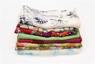 Lot of 8 Vintage Silk Scarves