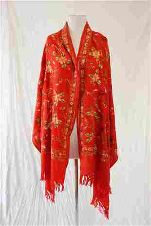 Vintage Red Cashmere Wool Embroidered Shawl