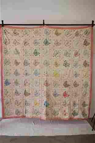 Vintage Butterfly Applique Quilt, 1930's
