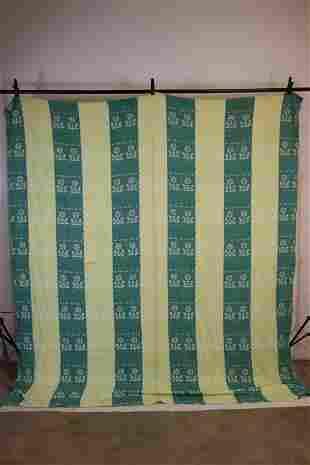 Vintage 1940's Green Cotton Blanket