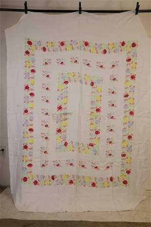 Vintage 1940/50's Cotton Fruit Printed Table Cloth