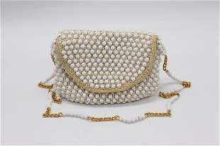 Vintage DELILL White Beaded 1960's Shoulder Bag