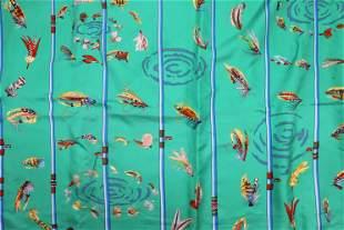 Vintage HERMES Silk Scarf with Fishing Flies