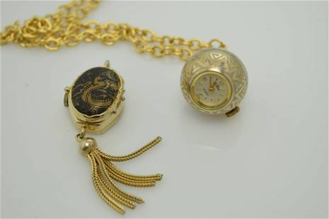 Two vintage ladies pendant watches. One is signed