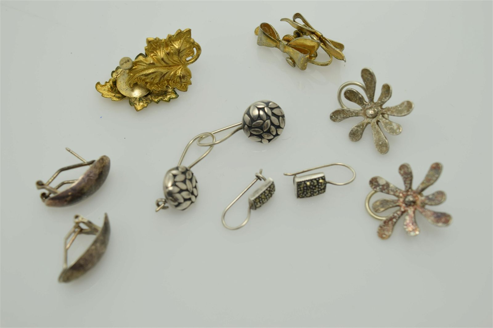 A lot of six pairs of sterling silver earrings.