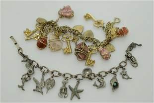 A lot of two vintage charm bracelets