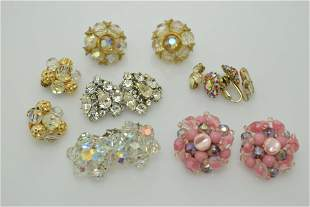 A lot of six vintage pairs of clip on earrings. One