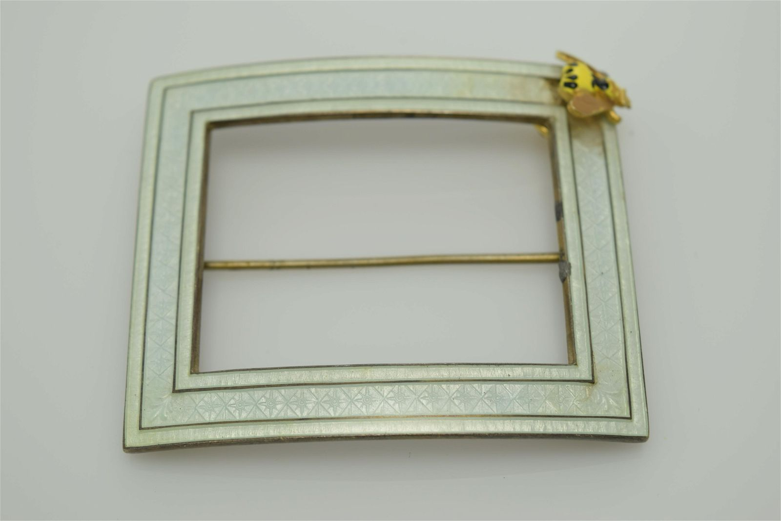 A vintage guilloche enamel square, sterling silver