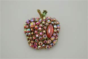 A vintage, signed Art apple pin/brooch.