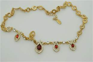 """An approx. 17"""" vintage style necklace with red and"""