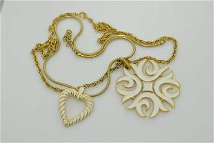 A lot of two vintage necklaces. One is marked Trifari.
