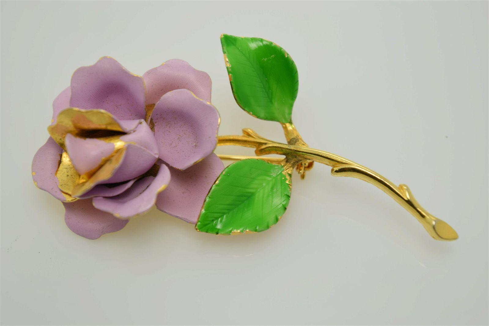 A vintage, signed Giovanni, gold tone & enamel flower
