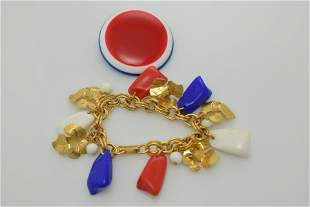 A lot of two pieces of red, white, and blue jewelry.