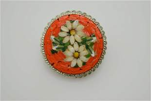 A vintage, marked Italy mosaic pin.