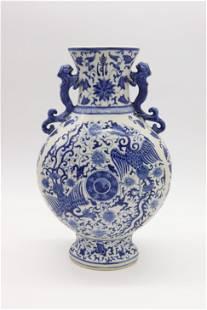 Chinese Blue & White Winged Dragon Vase
