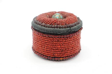 Chinese Beaded Covered Box