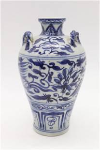 Chinese Blue & White Porcelain Winged Dragon Vase