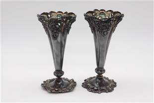 Pair of Victorian Silver Plate Carved Bud Vase