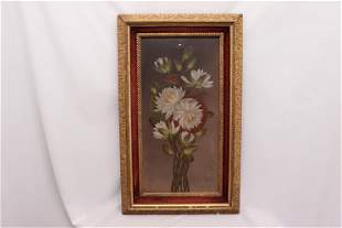 Antique Victorian Oil Painting Waterlilies