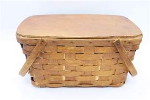 Vintage Oak Splint Picnic Basket, Petersboro Basket Co.