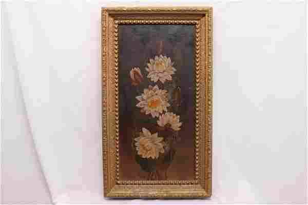 Antique Victorian Oil Painting, Waterlily