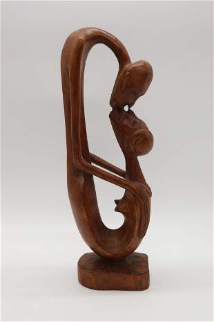 Carved Teak Statue Abstract Man & Woman