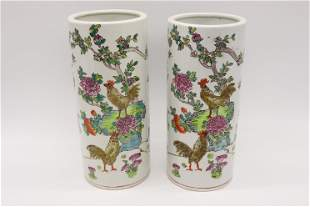 Pair of Antique Chinese Famille Rose Porcelain Cylinder