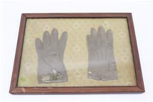 Antique Children's Leather Gloves in Frame