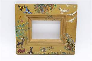 Antique Folk Art Hand Painted Picture Frame