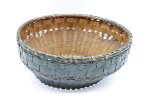 Large Antique Hand Woven Basket with Original Green