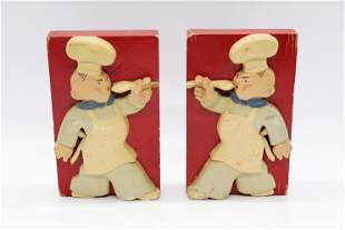 Vintage Hand Carved & Painted Chef Bookends