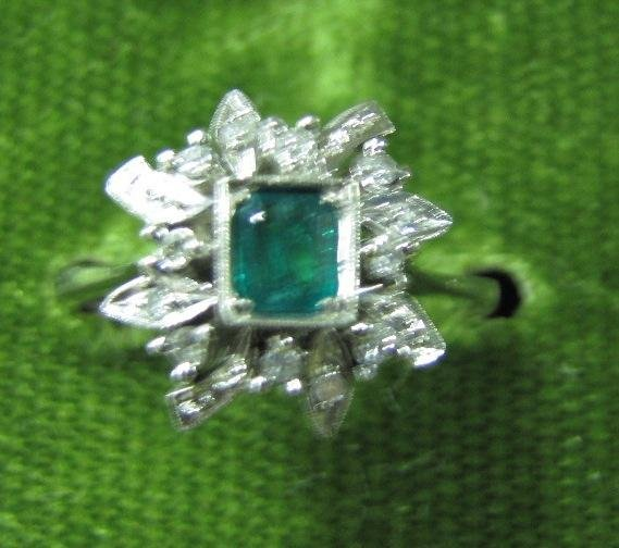 8A: Vintage 18K Emerald and Diamond Ring