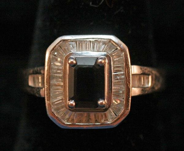 10: 14K White Gold Princess Cut Sapphire ring with diam