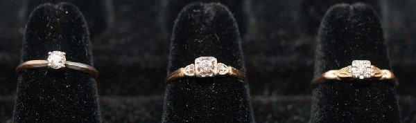 13: Lot of 6 14K Diamond Rings