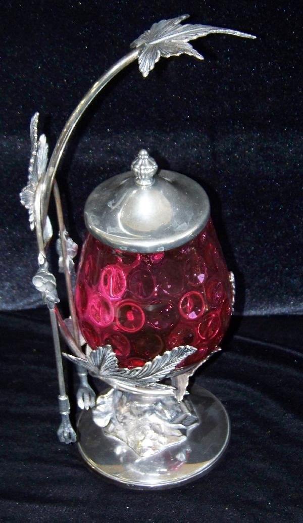 15: Beautiful Pickle Caster in Cranberry Glass
